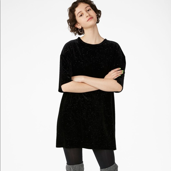 Monki Dresses Black Velvet Gold Glitter Tshirt Dress Poshmark